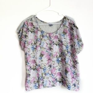 Charlotte Russe Floral and Lace Top